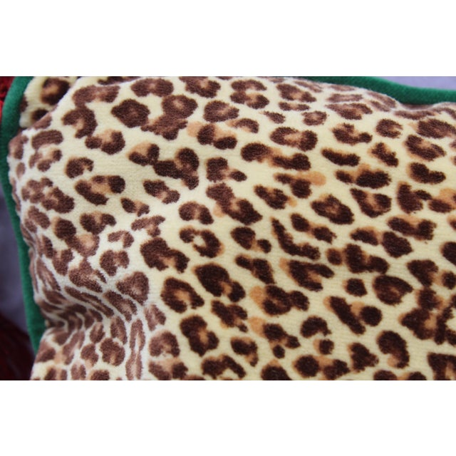 20th Century Contemporary Red Paisley/Leopard Print Silk Down Pillow For Sale In San Diego - Image 6 of 10