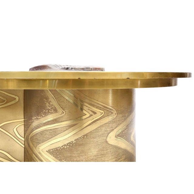Hollywood Regency Marc D'Haenens Brass Coffee Table with Inlaid Polished Ammonite For Sale - Image 3 of 10