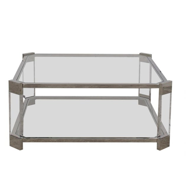 Mitchell's Gold + Bob Williams Contemporary Satin Nickel and Acrylic Melrose Cocktail Table For Sale In Atlanta - Image 6 of 6