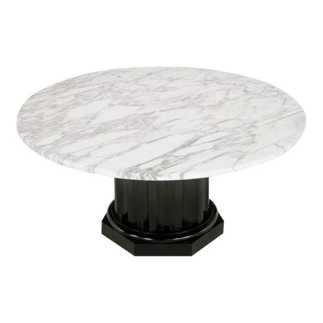 White Carrara Marble Coffee Table with Ebonized Fluted Wood Base - Image 1 of 7