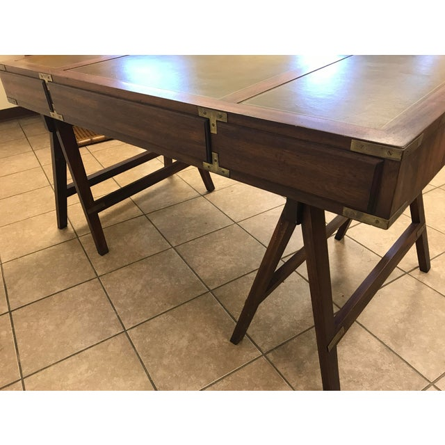 1960s Rosewood Campaign Desk with Leather Top For Sale - Image 5 of 9