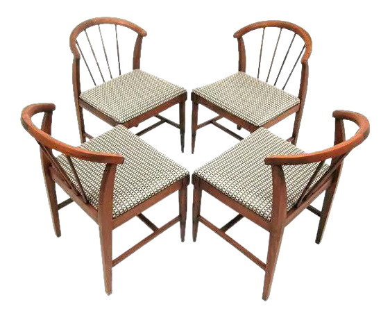 Mid Century Danish Style Low Back Chairs   Set Of 4
