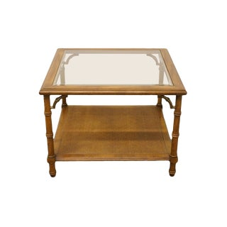 Lane Furniture Asian Chinoiserie Square Faux-Bamboo and Glass Top End Table For Sale