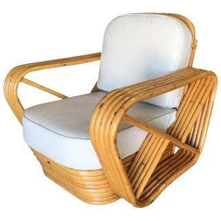 Rare Restored Five-Strand Square Pretzel Rattan Lounge Chair For Sale