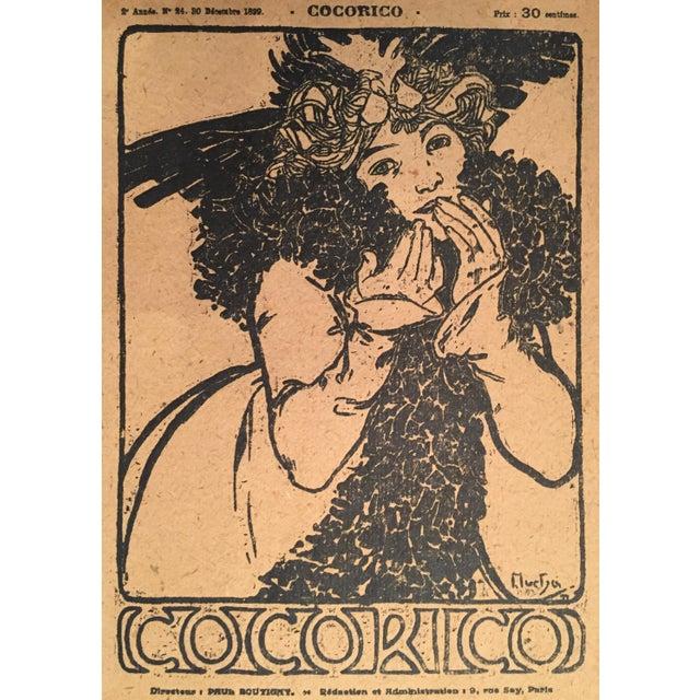 Art Nouveau Framed 1899 Original Alphonse Mucha Cocorico Cover For Sale - Image 3 of 5