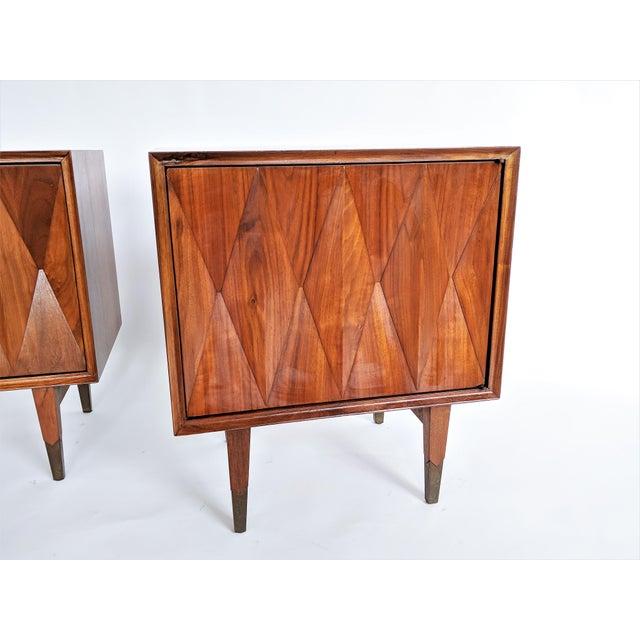 Albert Parvin Diamond Front Sculpural Nightstands - A Pair For Sale - Image 5 of 9