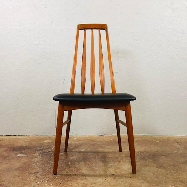 Koefoeds Hornslet 1960s Niels Koefoed Teak and Black Leather Dining Chairs - Set of 4 For Sale - Image 4 of 10