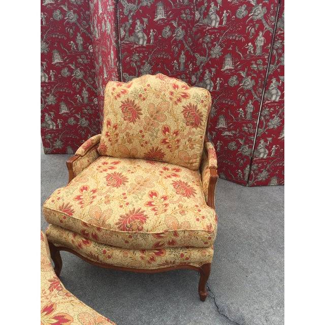 Pearson French Style Traditional Chair and Ottoman For Sale - Image 4 of 6