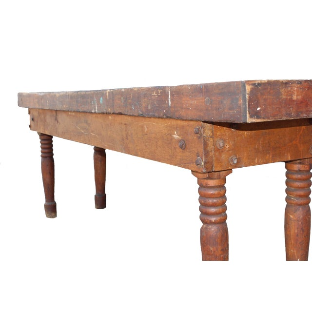 Americana Antique Farm Table For Sale - Image 3 of 8