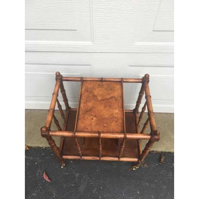 Vintage Burl Wood Bamboo Side Table Magazine Rack For Sale - Image 9 of 11