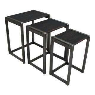 Vintage Art Deco Black & Pewter Nesting Tables - Set of Three For Sale