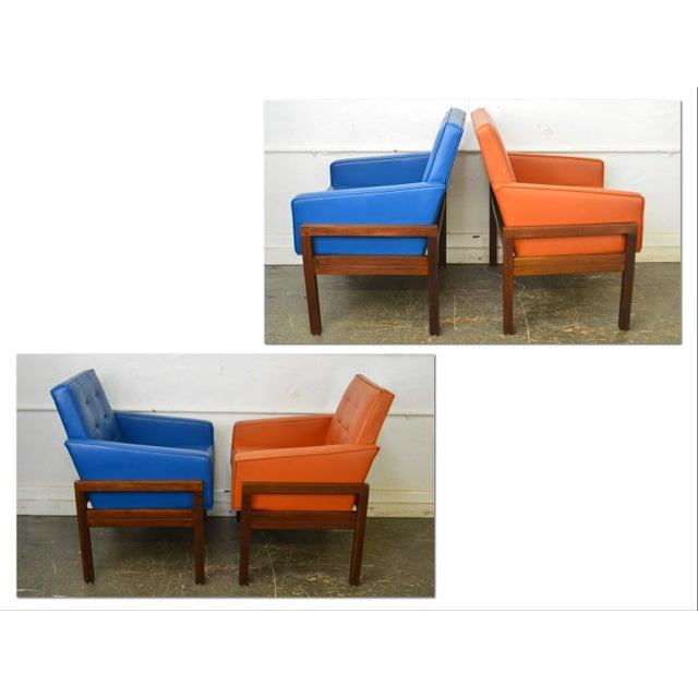*STORE ITEM #: 18461-fwmr Mid Century Modern Pair of Walnut Frame Orange & Blue Lounge Chairs AGE / ORIGIN: Approx. 50...