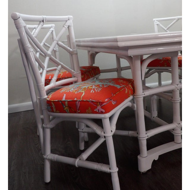 Chinoiserie, Wrapped Bamboo Dining Set - 5 Pieces For Sale - Image 12 of 13