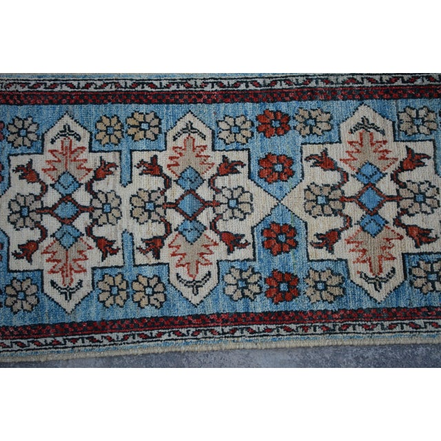 Traditional Turkoman Hand-Knotted Sky Blue Wool Rug For Sale - Image 4 of 6