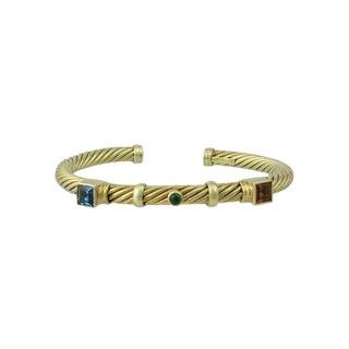 David Yurman 14k Gold Cable Tourmaline Bangle Bracelet For Sale