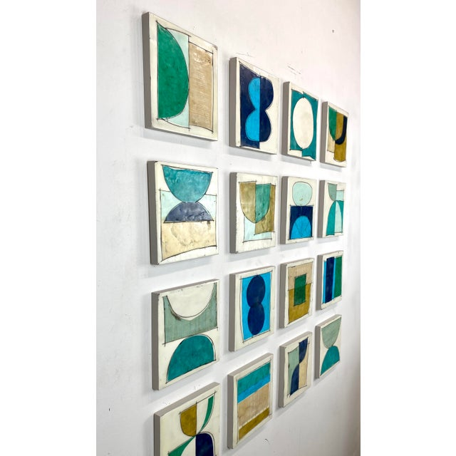 """2020s """"Elsewhere"""" Original Encaustic Collage Installation by Gina Cochran - Blue and Teal - 16 Panels For Sale - Image 5 of 13"""