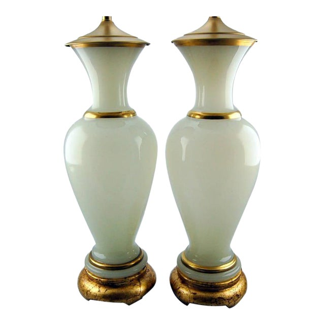 Vintage Murano Opaline Glass Table Lamps White Gold For Sale