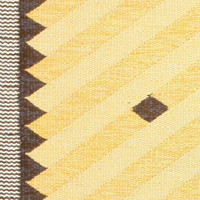 Boho Chic Vintage Scandinavian Yellow and Gold Rug - 5′5″ × 7′9″ For Sale - Image 3 of 7