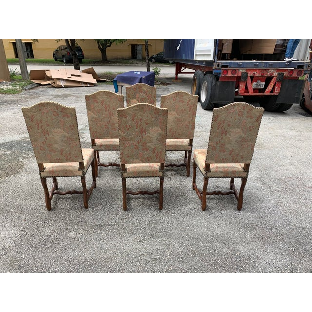 1900 - 1909 1900s Vintage French Louis XIII Style Os De Mouton Dining Chairs - Set of 6 For Sale - Image 5 of 12