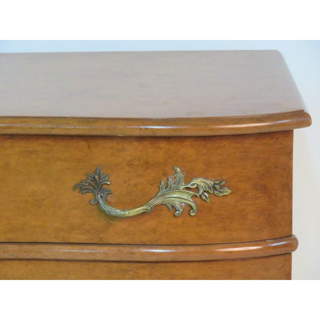 French Louis XVI style serpentine 4 drawer commode , fancy cast bronze hardware