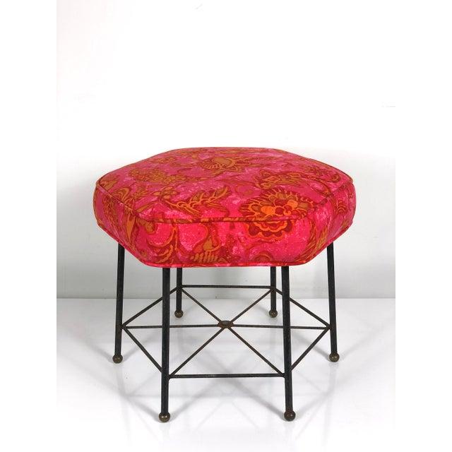 Vintage 1950's Modernist Pink and Orange Velvet Iron Footstool / Ottoman For Sale - Image 9 of 9
