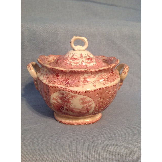 English Traditional Red Transfer-Ware Two Handled Bowl With Lid For Sale - Image 13 of 13