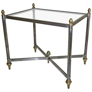 Italian Jansen Style Steel Brass Side / End Table