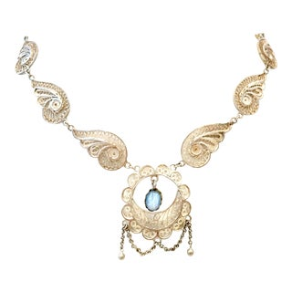 Antique Art Nouveau Sterling Silver & Moonstone Pendant Necklace For Sale