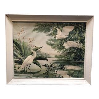 1940s Post-War Tropical Cranes Print in Original Frame For Sale