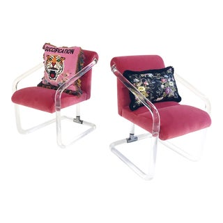 Restored Vintage Lucite Chairs in Loro Piana Pink Velvet With Gucci Pillows - a Pair For Sale