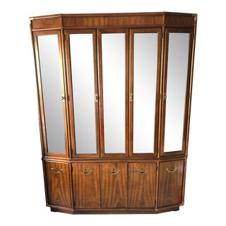 Vintage Drexel Heritage Accolade Campaign Style Lighted Cabinet