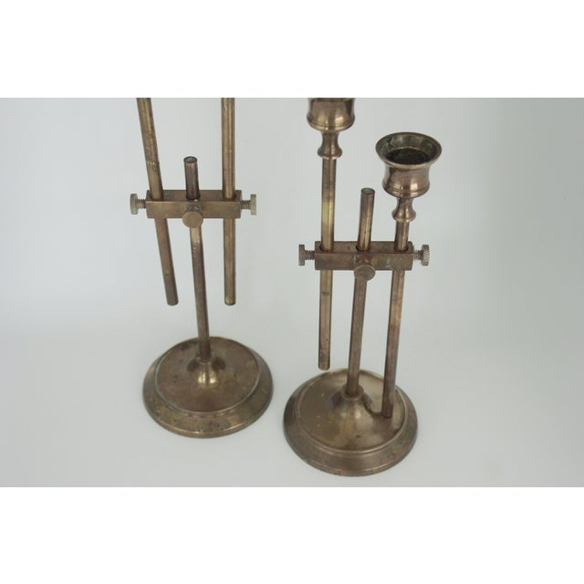 Brass Industrial Adjustable Candlesticks - Pair - Image 9 of 9
