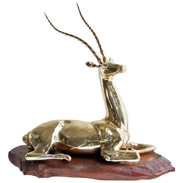 Metal Restored Mid-20th Century Brass Sculpture of Impala on Natural Edge Wood Base For Sale - Image 7 of 7