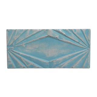 Vintage Art Deco Rectangular Blue Tin Panel For Sale