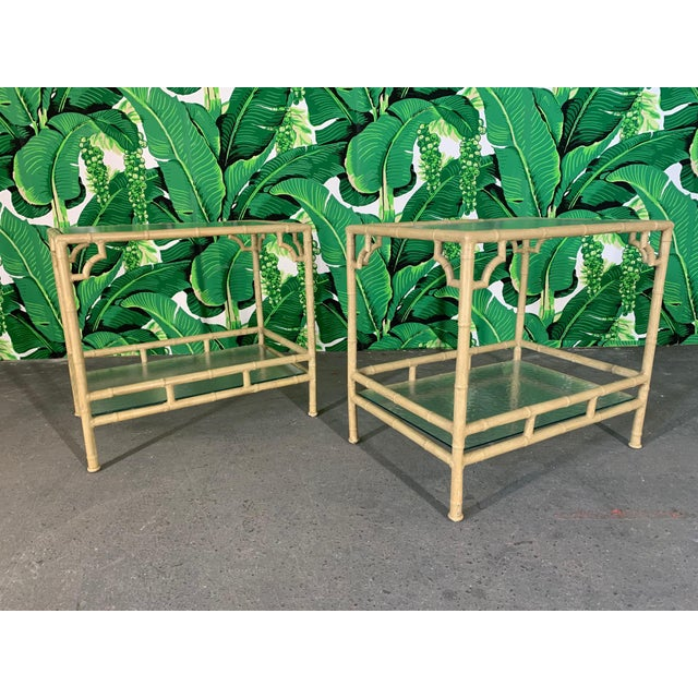 Faux Bamboo Metal Patio End Tables by Meadowcraft