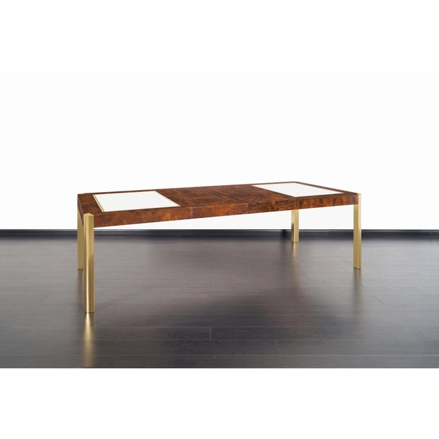 Brown Vintage Burl Wood and Brass Dining Table by Century Furniture For Sale - Image 8 of 13