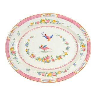 "1950s George Jones & Sons Paradise Pink 18"" Oval Serving Platter For Sale"