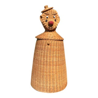1950s Vintage Mid-Century Wicker Rattan Clown or Tin Man Basket For Sale