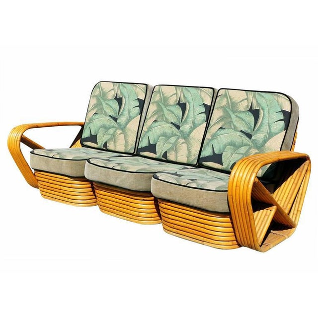 Restored Paul Frankl Style Six Strand Square Pretzel Sofa - Image 4 of 5