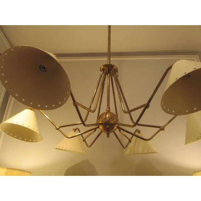 Mid-Century Modern Custom Six-Light Brass and Tole Fixture in the Mid-Century Manner For Sale - Image 3 of 7