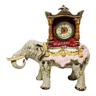 Early 20th Century Ansonia Julius Dressler Majolica Elephant Statue Mantle Clock For Sale