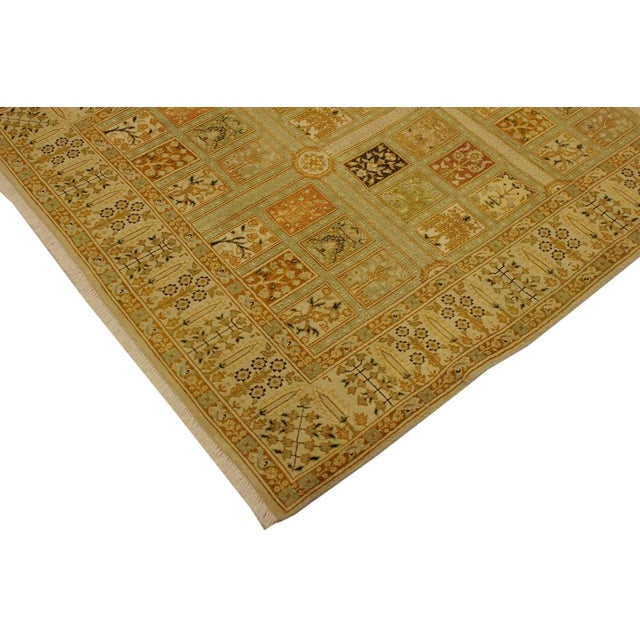 2000s Istanbul Jerri Tan/Gold Turkish Hand-Knotted Rug -4'1 X 6'0 For Sale - Image 5 of 8