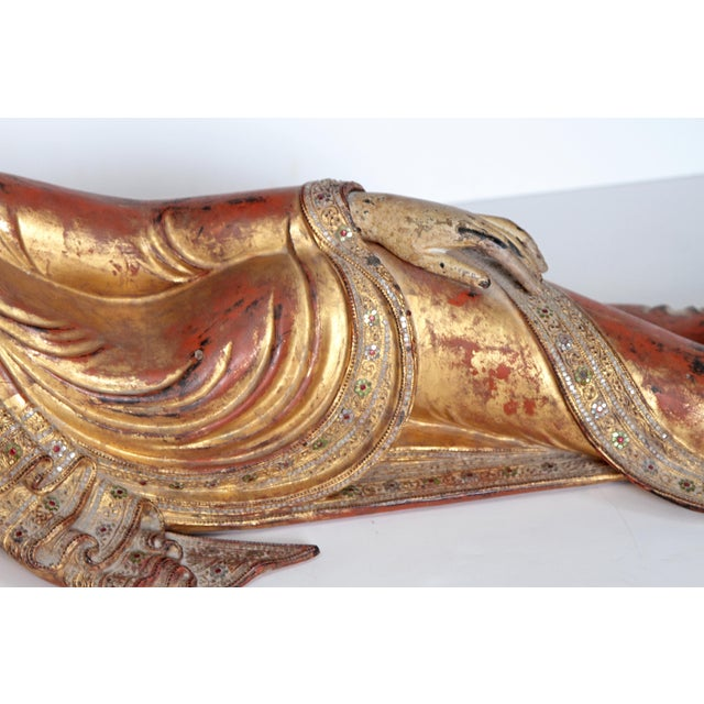Reclining Buddha / Draped in Golden Robes With a Jeweled Border and Headress For Sale - Image 4 of 13
