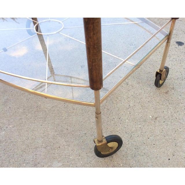 Mid-Century Brass & Glass Bar Cart - Image 5 of 11