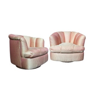 20th Century Channel Back Swivel Chairs in the Style of Milo Baughman - a Pair