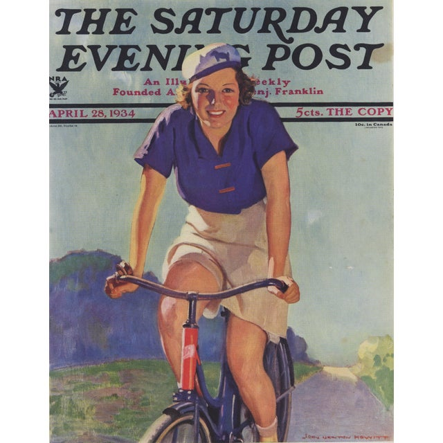 1930s Matted Vintage Print-Woman Cyclist on Bike For Sale - Image 5 of 5