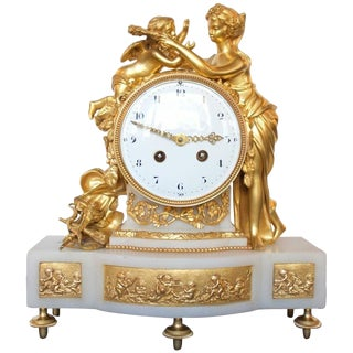 Early 19th Century Antique Gilt Bronze and Marble Psyche and Eros Mantel Clock For Sale