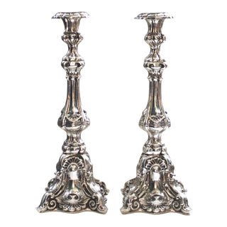 1960s Baroque Silverplate Candlesticks - a Pair