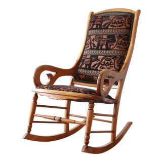 Antique Maple Rocking Chair Reupholstered in Modern Animal Motif Print For Sale