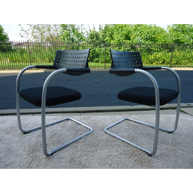 Gray Modern Antonio Citterio for Vitra Visasoft Visavis Guest and Conference Chairs- Set of 6 For Sale - Image 8 of 13